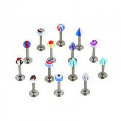 Lot de 25 piercings micro-labrets acryliques