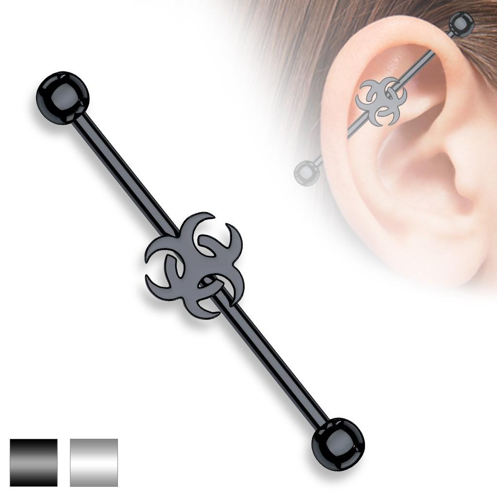 Piercing barre industriel rasta pour oreille nuque 1.6 mm
