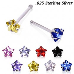 Piercing nez droit 0,8mm 27 - Argent cristal étoile