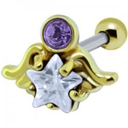 Cartilage hélix, tragus 196 - Plaqué-or ange