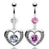 Piercing nombril coeur 16 - Creux avec zircone