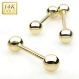 Piercing langue en or jaune 14 carats boules