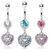 Piercing nombril coeur 18 - Multistrass