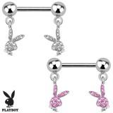Piercing téton playboy 6 - Deux lapins pendants