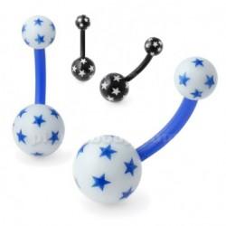 Piercing nombril UV 95 - Flexible étoiles