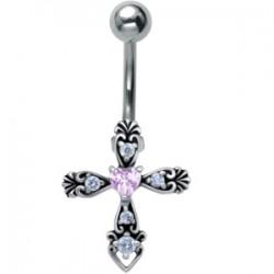 Piercing nombril croix 22 - Médiévale coeur rose