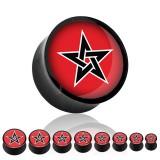 Plug courbe acrylique croix fond rouge