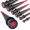 écarteur acrylique pointe étoile rouge et noire