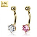 Piercing nombril or 14K 01 - Zircone rond