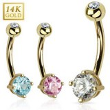 Piercing nombril or 14K 03 - Zircone rond