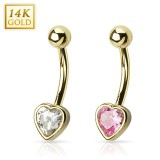 Piercing nombril or 14K 32 - Coeur