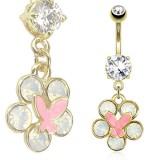 Piercing nombril plaqué-or 75 - Fleur papillon rose