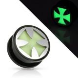 Plug acrylique fluorescent croix de malte