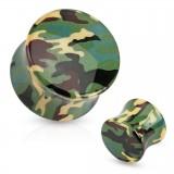 Plug acrylique courbe camouflage kaki