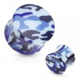 Plug acrylique courbe camouflage bleu