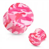 Plug acrylique courbe camouflage rose