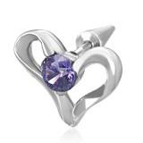 Faux-écarteur acier 135 - Coeur zircone violet