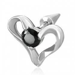 Faux-écarteur acier 137 - Coeur zircone noir