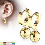 Anneaux oreilles acier 25 - PVD boule pendante