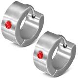 Anneaux oreilles acier 12 - Strass rouge