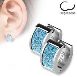 Anneaux oreilles acier 05 - Satin bleu