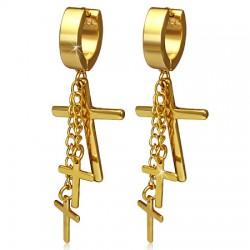 Anneaux oreilles acier 13 - Trois croix gold-IP