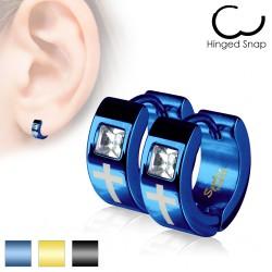 Anneaux oreilles acier 16 - PVD croix zircone