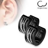 Anneaux oreilles acier 19 - Black zébré multistrass