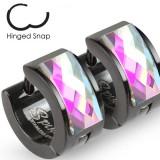 Anneaux oreilles acier 37 - Noir zircone aurora