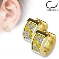 Anneaux oreilles acier 45 - Gold-ip satin zèbre