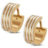 Anneaux oreilles acier 47 - Gold ip lignes grises