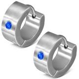 Anneaux oreilles acier 53 - Strass bleus