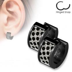 Anneaux oreilles acier 57 - PVD noir ronds