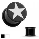 Plug acrylique étoile o-ring noir ou blanc