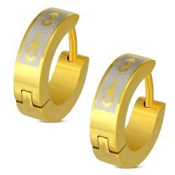 Anneaux oreilles acier 21 - Gold ip femme