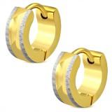 Anneaux oreilles acier 91 - Petit gold-ip et satin