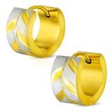 Anneaux oreilles acier 42 - Gold ip grisé