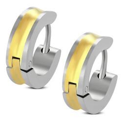 Anneaux oreilles acier 44 - Ligne jaune