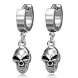 Anneaux oreilles acier 101 - Crâne pendant
