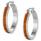 Anneaux oreilles acier 62 - Cercle satin orange