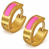 Anneaux oreilles acier 113 - Gold ip trait rose