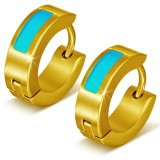 Anneaux oreilles acier 115 - Gold ip trait bleu