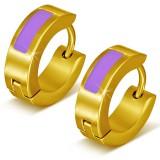 Anneaux oreilles acier 116 - Gold ip trait violet