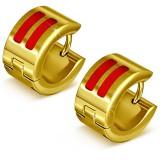 Anneaux oreilles acier 117 - Gold ip deux traits rouges