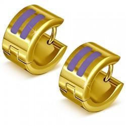 Anneaux oreilles acier 119 - Gold ip deux traits violets