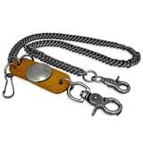 Chaine de jean 11 - Plaque avec rond cuir beige