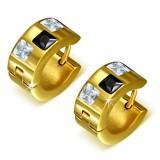 Anneaux oreilles acier 134 - Gold ip trois zircones