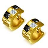 Anneaux oreilles acier 135 - Gold ip trois zircones