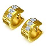 Anneaux oreilles acier 136 - Gold ip trois zircones