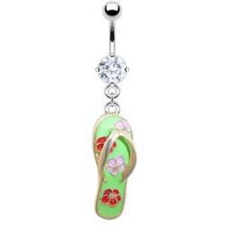 Piercing nombril tong 05 - Fleurs sur vert pomme